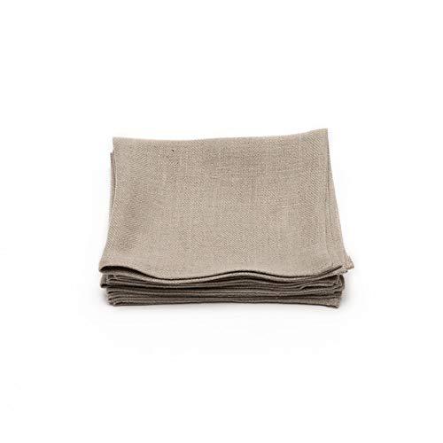 LinenMe Serviettes de Table en Lin 42x42 cm, Collection Lara, Set de 4, Teintes Naturelles