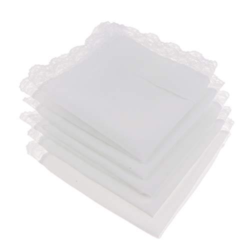5pcs 100% Baumwolle Weiß Taschentücher Spitze Stofftaschentücher Herrentaschentücher Damentaschentücher