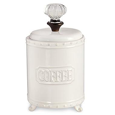 Mud Pie ceramic Coffee Canister Door Knob Handle, White