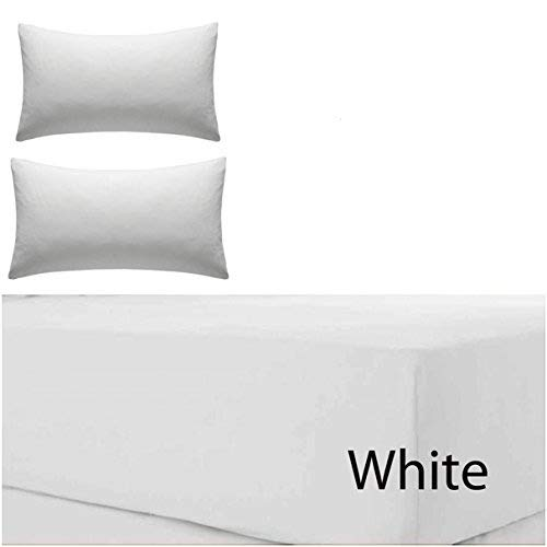 Rayyan Linen Luxeriöses, extra-hohes Spannbettlaken aus 100% ägyptischer Baumwolle, weiß, T200TC, Höhe 40,6cm, in allen Größen erhältlich, weiß, King Size