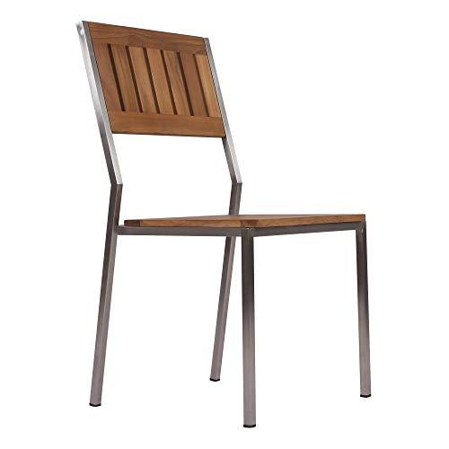 Teako Design Silla apilable Lavarone de Acero Inoxidable y Madera Maciza de Teca.