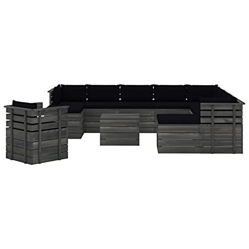 Tidyard Muebles de palets de jardín 12 pzas Cojines Madera Maciza Pino 3#   Sofás Palets Conjuntos Sofa Exterior Patio