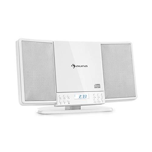 auna V14 - Equipo estéreo Vertical, Teproductor de CD con MP3, Sintonizador FM, Función Bluetooth, Entrada AUX, Conector de Auriculares, Apto para Montar en la Pared, Mando a Distancia, Blanco
