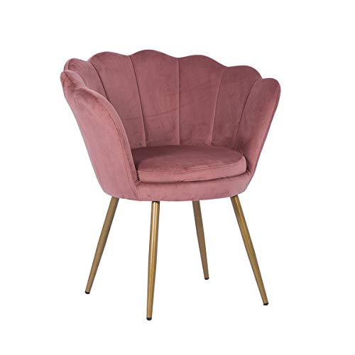 Velvet Armchair Accent Tub Chair Upholstered Occasional Lounge Chair Single Sofa Side Chair Dining Chair Scalloped Dressing Chair with Gold Metal Legs for Bedroom Living Room (Pink - Scalloped)