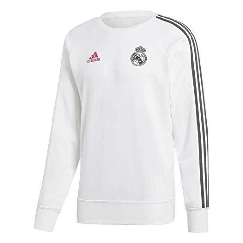 Adidas Real Madrid Temporada 2020/21 Sudadera Entrenamieto Oficial, Unisex, Blanco, M