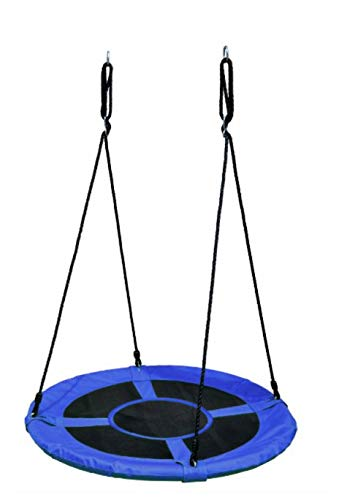 Coil Schommel, tuinschommel, nestschommel, ronde hangschommel voor kinderen en volwassenen, blauw, diameter 120 cm, maximale belasting 100 kg