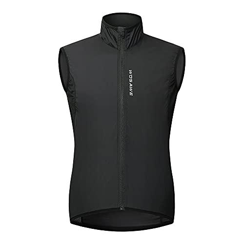 WOSAWE Chaleco de ciclismo para hombre Ligero y transpirable al aire libre Correr sin mangas Chaquetas de ocio Ropa deportiva(Negro XL)