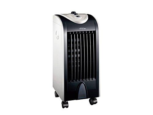 Purline RAFY 51 Compacte verdampingsairconditioning met laag verbruik, wielen, schommelende bladen, kunststof, staal, wit en zwart, 25 x 29 x 58