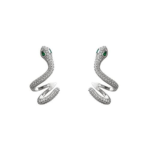QiuYueShangMao Pendientes en Forma de Serpiente Personalidad exagerada Micro Pendientes con Incrustaciones Aguja de Plata Retro Divertido Oreja joyería Regalo de San Valentín Pendientes de Boda