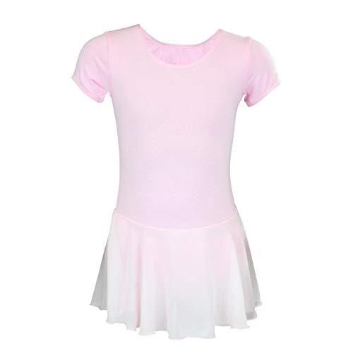 Aquarti Aquarti Mädchen Kurzarm Ballettanzug mit Chiffon Rock, Farbe: Rosa, Größe: 146