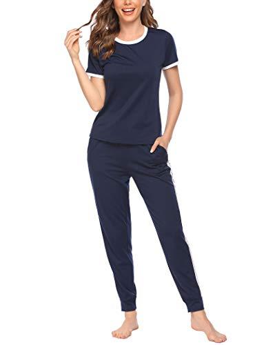 Ekouaer Womens Pajama Set Short Sleeve Sleepwear Jogger PJ Sets Soft Sleepwear with Pockets Navy Blue XXL