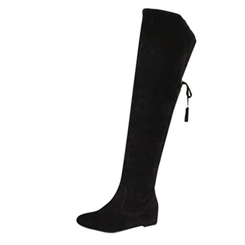 TTLOVE Schneestiefel Damen Knie Winterstiefel warm gefüttert Lace-Up Stiefel Wedges Schuhe Winter Warm Schnee Hohe Stiefel Pelzstiefel Flache Schuhe Overknee Stiefel(Schwarz,41 EU)