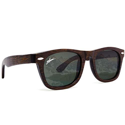 glozzi gafas de sol de madera de bambú para hombres y mujeres - gafas de lentes polarizadas UV 400 categoría 3