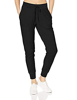 Amazon Essentials Women's Studio Terry Relaxed-Fit Jogger Pant, Black, S