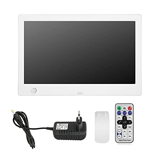 Cornice digitale 10 pollici, Schermo IPS, 1024 * 600, Telecomando a infrarossi, Cornice per foto intelligente con scheda di memoria da 16 MB 32 GB di lettura massima per casa o ufficio(bianca)