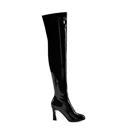MKXF Femmes de Talons Hauts Cuissardes Bottes Femme Chaussures,Noir,38