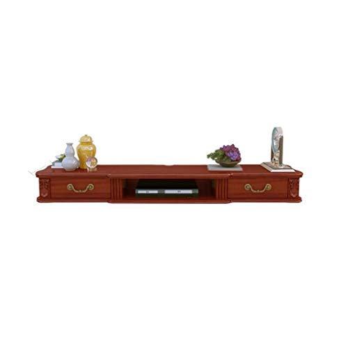 Wandmontage TV kast Ophangkast Massief hout Wandplank Zwevende plank Set top box router Speelgoed foto Opslagplank Met lade TV console, 140cm, BRON