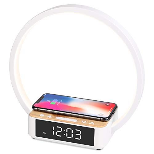 WILIT B17 12W Nachttischlampe Wecker, Lichtwecker mit Qi Drahtloses Ladestation, Tischlampe Holzoptik Touch Dimmbar, 3 Helligkeitsstufen, Wireless Charger für iPhone 12/11/X/8, Samsung Galaxy S20/S10