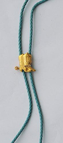 Amesbichler Reitsport Bolo Tie Westernstiefel mit Kristallen vergoldet Western Cowboy Krawatte Westernkrawatte