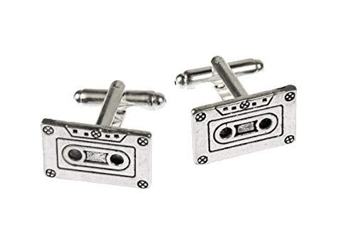Miniblings Cinta de Cassette Gemelos Botones + Caja Mixtape DJ Music Band - joyería Gemelos Gemelos Botones de la Camisa de los Hombres de Que la Caja de Madera incluida