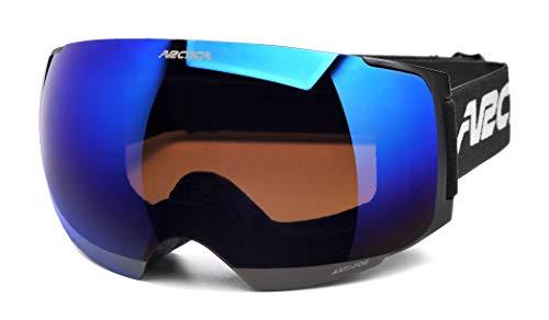 Arctica ® G-105D Skibrille mit Magnetische Wechsellinse. Doppellinsensystem. Anti Nebel & Revo Behandlung