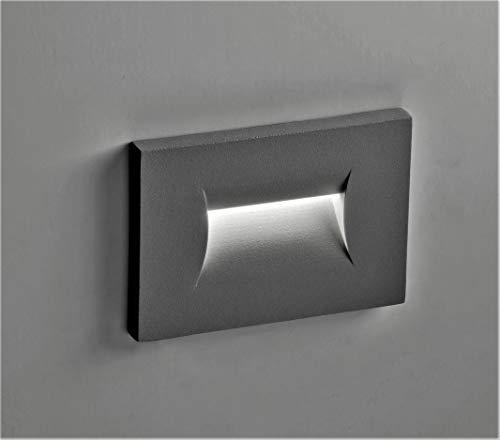 faretto segnapasso grigio scuro antracite led 3w 3000k da esterno incasso parete per cassetta 503 ip65 garanzia 5 anni