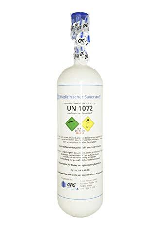 Medizinischer Sauerstoff 2 Liter Leichtstahlflasche, med. O2 nach AMG GOX, 200 bar NEU & VOLL, Made in EU