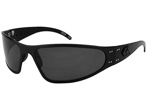 Gatorz Eyewear, Wraptor Model, Aluminum Frame Sunglasses - Blackout Tactical Style/Smoked Polarized Lens