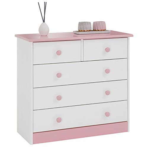 IDIMEX Kommode Rondo mit 5 Schubladen Kiefer massiv weiß rosa lackiert