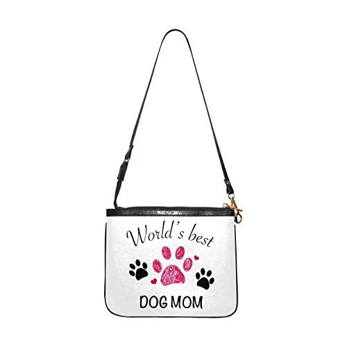InterestPrint Small Crossbody Bag Travel Purse and Handbag with Strap for Women Worlds Best Mom Dog Paw