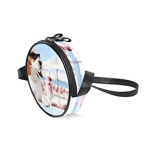 DGYT Animal Beagle Profundidad de Campo Perro Humor Helado Mascotas Bolsas de Hombro Bolso Crossbody Multifuncional Cuero PU para Compras Viajes