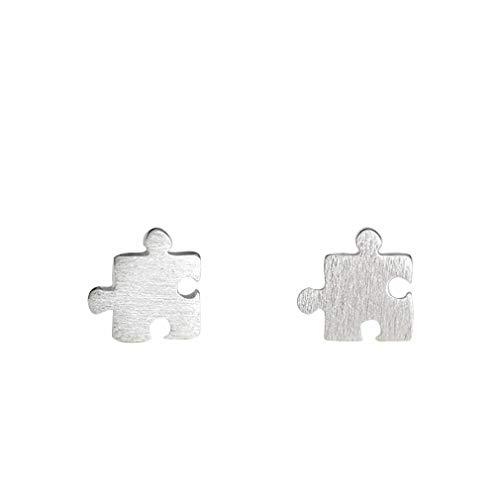 Pulabo - Pendientes hipoalergénicos de calidad superior, con forma de puzle, estilo casual, para niñas