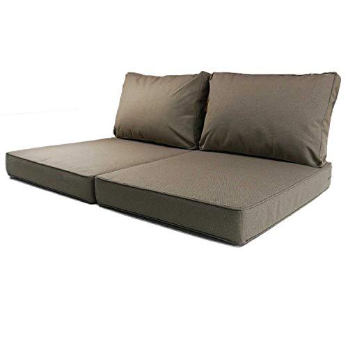 Nordje Exclusive Palettenkissen Outdoor Grau 60x80&60x40 cm (2 Stück Set) | wasserabweisen | gewebter Stoff | Indoor & Outdoor | Paletten-Auflage (Taupe)