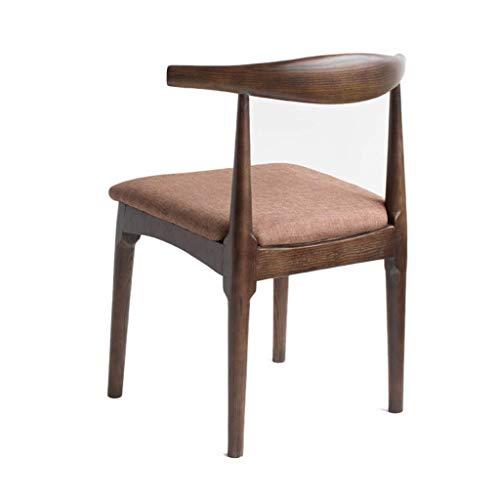KMMK Bar, cafetería, silla de restaurante, silla de desayuno informal, silla de oficina, respaldo tapizado de cuero y patas de madera de estilo de madera, silla de té para el hogar, silla de oficina,