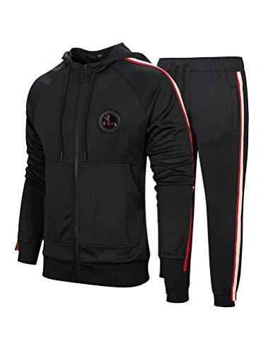 FTCayanz Herren Trainingsanzug Jogginganzug Sportanzug Männer Jogging Anzug Sweatshirt Hose 2-Schwarz XL