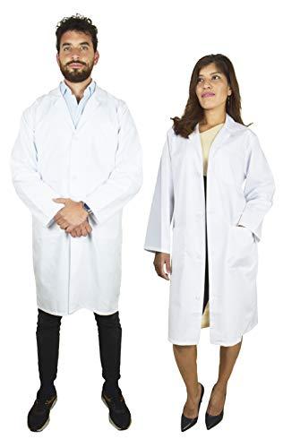 BeBright Bata Laboratorio Mujer y Hombre, Bata Blanca, Bata de Trabajo Medico, Revisar Cuadro de Medidas (S)