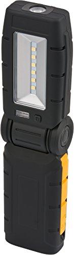 Brennenstuhl LED Taschenlampe mit Akku und Ladestation / LED Arbeitsleuchte für außen IP54 (280+70lm, Werkstattlampe inkl. Netzteil und USB Ladekabel, bis zu 8h Leuchtdauer) 1175650010 Schwarz