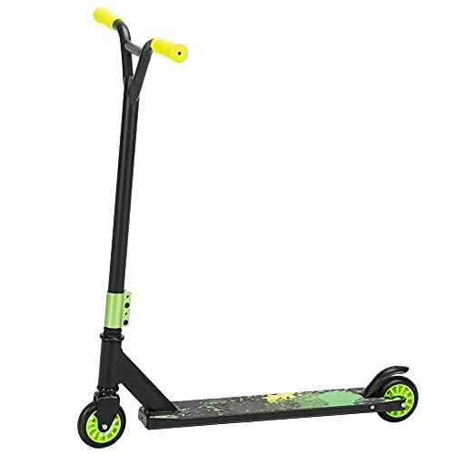 Con freno trasero Pro Scooter para adolescentes y adultos, Freestyle Trick Scooter manillar verde robusto marco de aluminio