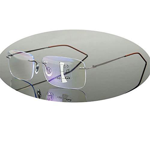 CLOUD Lesebrille Fern Und Nah Dual-Use Multi-Fokus HD Anti-Blau/Smart Zoom Anti-Müdigkeits-Augenschutz Lesebrille Männer Und Frauen -6 Dioptrien Gun Color-+2.5