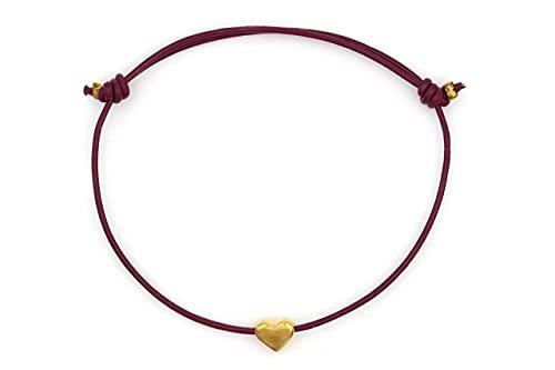 Lederarmband Herz Farbe gold, Armband Damen brombeere 1mm, Freundschaftsarmband, verstellbar, handgefertigt - Beautysart