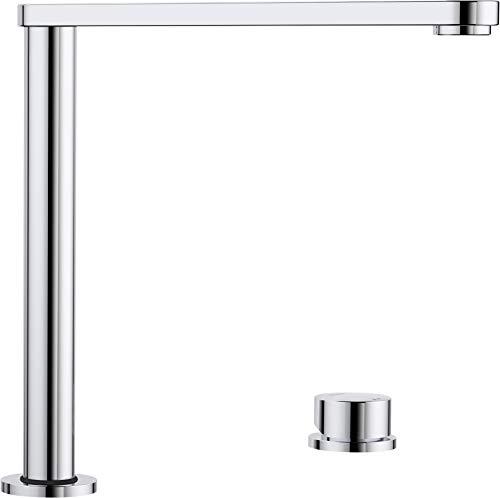 Blanco Eloscope-F II, versenkbare Küchenarmatur, ideal zur Vorfenstermontage, Vorfensterarmatur mit extraflchem Auslauf, Oberfläche chrom, Hochdruck, 1 Stück; 516672