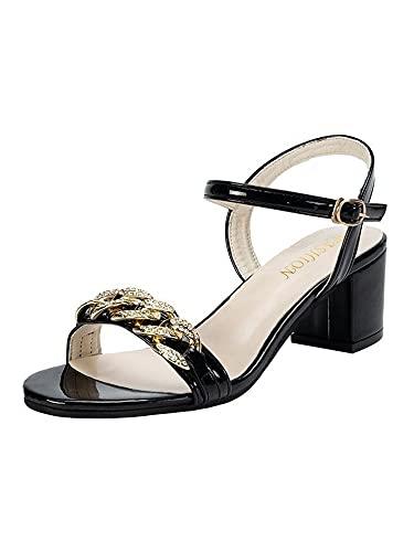 Sandalias de verano para mujer, con estrás, correa en el tobillo, para fiesta, club, tacones abiertos, color Negro, talla 37 EU
