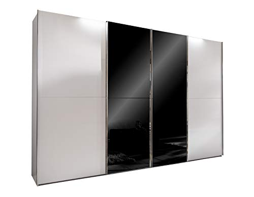 lifestyle4living Kleiderschrank 4-türig in weiß/Glas schwarz | Schwebetürenschrank mit viel Stauraum, ca. 300 cm breit