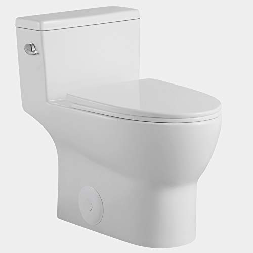 One Piece Toilet - Sarlai Modern Tall Elongated Comfort Height Single Flush White Ceramic Bathroom Toilet with Soft Seat, 12' Rough - In, Wax Ring Included