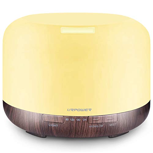 URPOWER 500ml Essential Oil Diffuser 5 in 1 Ultrasonic Aromatherapy Diffusers for Essential Oils Humidifier with Adjustable Mist Mode/4 Timer Settings and Waterless Auto Shut-Off for Large Room Yoga.