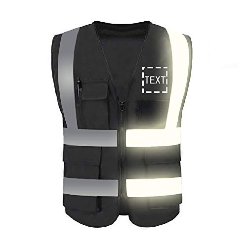 High Visibility Reflective Safety Vest Customize Logo 5 Pockets Protective Workwear with Reflective Strips Outdoor Work Vest (Black (M))