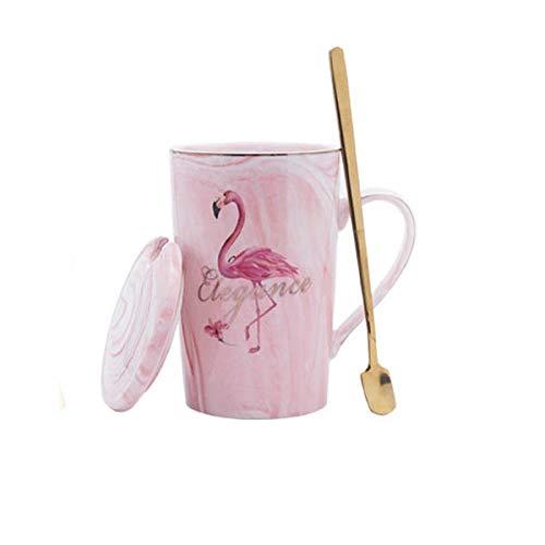 HUANGHHLL Taza De Cerámica Chapada En Oro Flamingo Milk Coffee Tea Mug con Cuchara Mango Hogar 55 Celsius Termostato De Calefacción Padoffice Mug-3_360Cm