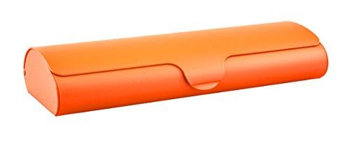Edison & King Flaches Brillenetui mit Aluminium-Außenschale und Schnappverschluß Größen (Orange, groß)