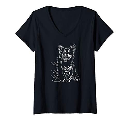 Damen Chihuahua Langhaar Hund Hundeportrait Wilsigns T-Shirt mit V-Ausschnitt