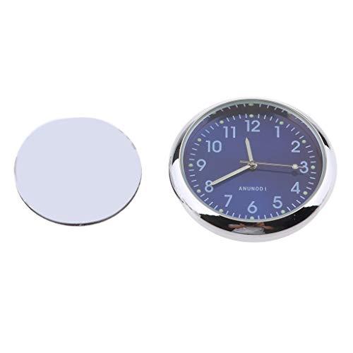 MagiDeal Mini wasserdichte Stick-On Motorrad Uhr Uhr Motorrad Auto Uhr - Fluoreszierendes Blau